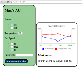 screenshot of mobile AC web interface